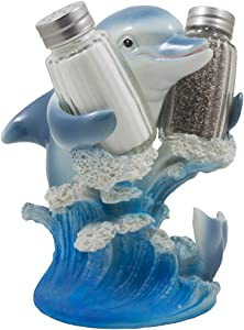 Dolphin Riding Ocean Wave Salt and Pepper Shaker Set with Figurine Holder in Decorative Tropical Kitchen Decor Spice Racks & Porpoise Display Stands or Beach Bar As Gifts for Dolphin Lovers