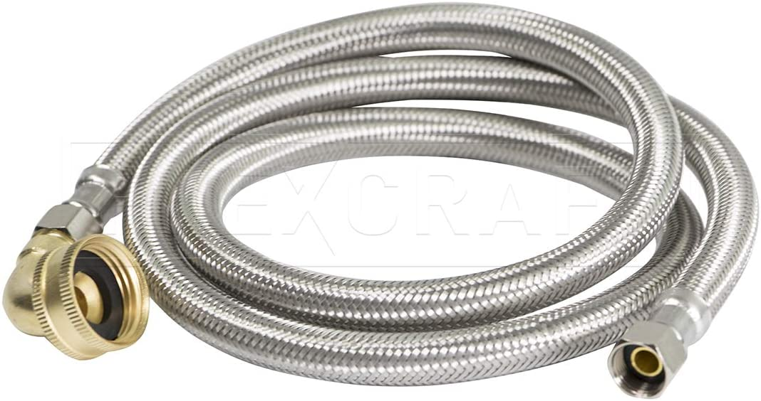 FlexCraft 28748-NL, Dishwasher Connector, Connects Dishwasher to Water Supply, Dishwsher Supply Line With Swivel Elbow, Braided Stainless Steel 48 In