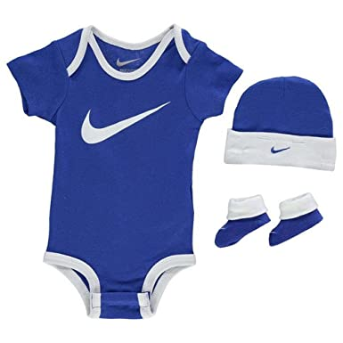 Nike Romper Hat   Booties 3 Piece Set Baby Boys Blue White Size 0-6 Months   Amazon.co.uk  Clothing 8e07335643f