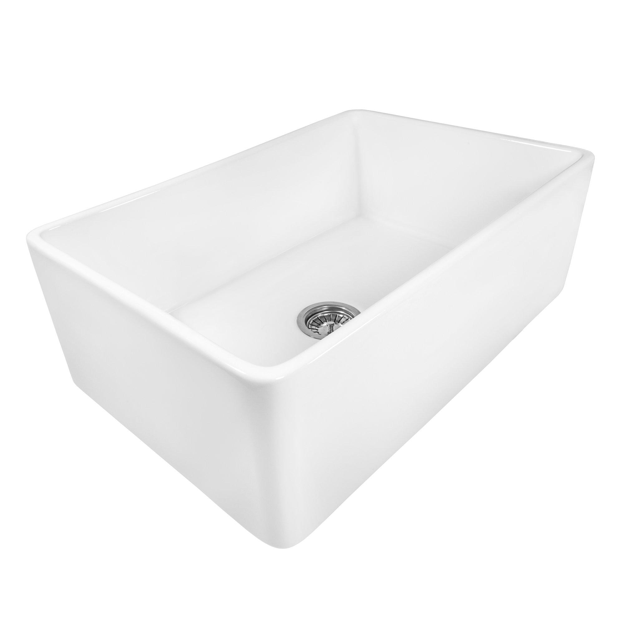 Ruvati 33 x 20 inch Fireclay Reversible Farmhouse Apron-Front Kitchen Sink Single Bowl - White - RVL2300WH by Ruvati