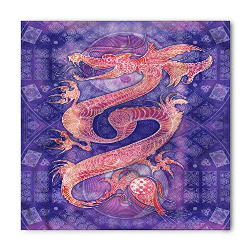 Chinese Dragon Face (Lunarable Unisex Bandana, Dragon Chinese Figure Yin Yang, Purple)