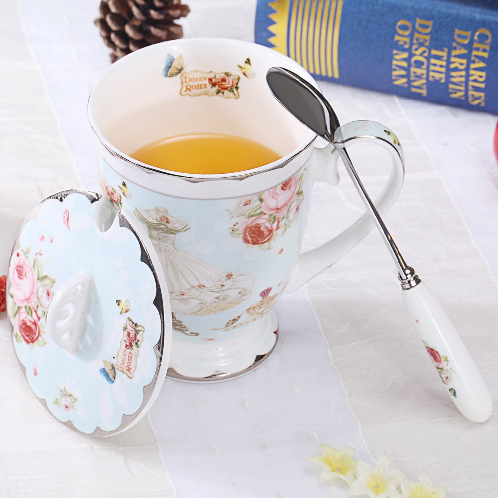 AWHOME Tea Cup and Lid and Spoon Set Royal Fine Bone China Coffee Mug 11oz Light Blue TeaCups