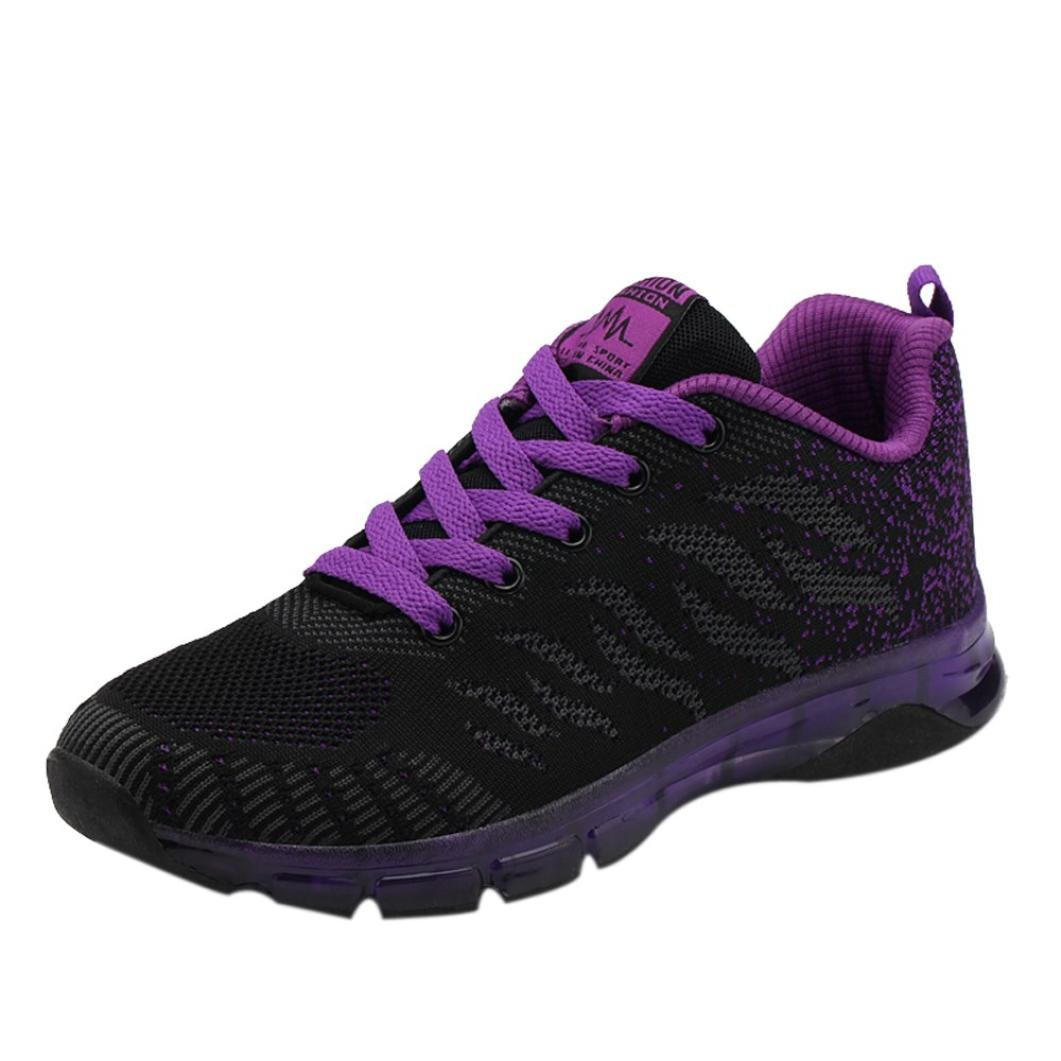 2018 Womens Girls Running Shoes,Casual Lace up Air Cushion Sneakers Shoes 5.5-8.5 (Purple, US:8.5)