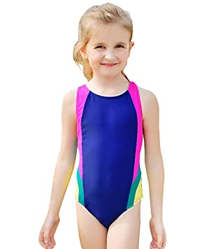 1fddfd08e8413 Zerlar Girls One-Piece Swimsuits Racer Back Swimwear Swimming Costume:  Amazon.co.uk: Sports & Outdoors