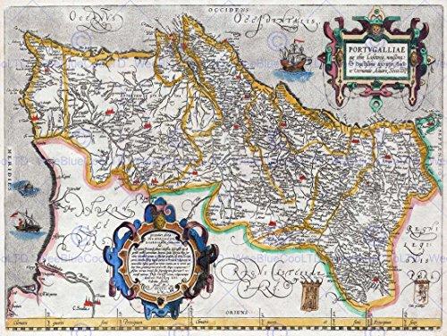 map-antique-portugal-iberia-atlantic-30x40-cms-fine-art-print-poster-bb8212