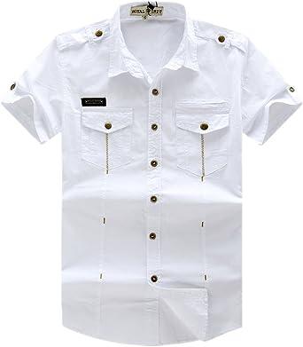 Los Hombres de la Camiseta de Manga Corta Tela Vaquera botón de Metal Down Casual Camisa