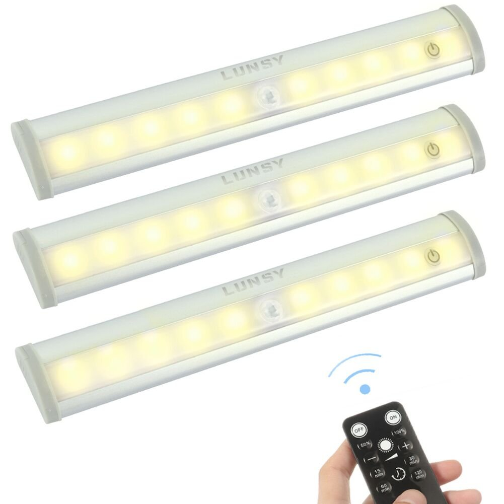 LUNSY Remote Control Under Cabinet Lighting, Wireless Battery Operated Closet Lights, Dimmable LED Light Bar, Stick on Anywhere Night Light for Closet Kitchen Stairs Wardrobe- 3 Pack