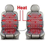 Zento Deals Car Heated Seat Cover Cushion Hot Warmer - 2-Piece Set 12V Heating Warmer Pad Hot Gray Cover Perfect for Cold Weather and Winter Driving