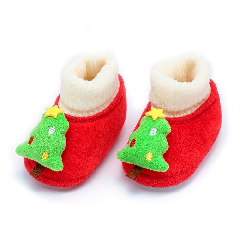 QinMM Beb/é reci/én Nacido Zapatos de Navidad de Cartoon Suave Suela Calzado Casual Botas de Cuna Ni/ño Ni/ña