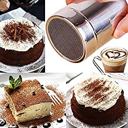 m·kvfa Stainless Chocolate Shaker Icing Sugar Powder Flour Cocoa Coffee Sifter Dredgers Sprinkler Icing Sugar Salt Latte Cappuccino Mesh Sifter