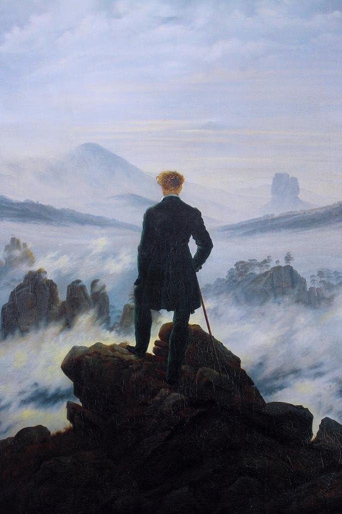Caspar David Friedrich Wanderer Above The Sea of Fog Philosophy Wander Painting Cool Wall Decor Art Print Poster 24x36