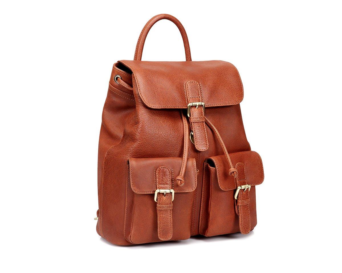 TheCultured Leather Front Pocket Backpack Shoulder Bag in Tan by LederMann (Image #1)