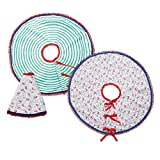 C.R. Gibson 100% Cotton Reversible Christmas Tree Skirt, By Molly Hatch, Perfect Addition To Your Christmas Tree, Measures 48'' D - Holiday Flourish