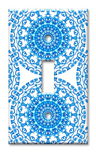 Art Plates 1-Gang Toggle OVERSIZE Switch Plate/OVER SIZE Wall Plate - Blue Ceramic Tile