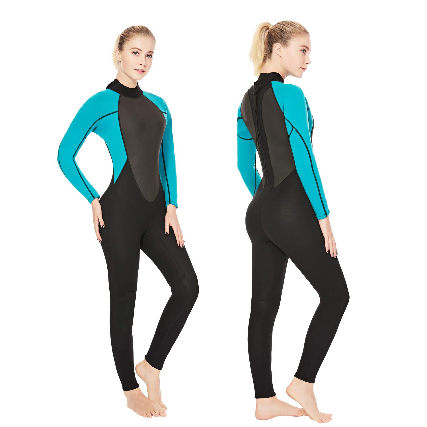 Realon Womens Wetsuit Full 3mm Neoprene One Piece Surfing Scuba Diving Snorkeling Swimming Suit (Black Blue 3mm, L) by Realon
