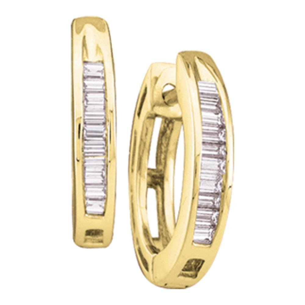 Diamond Huggie Hoop Earrings 10k Yellow Gold Round Baguette Hoops Huggies Fashion Style 1/6 Cttw