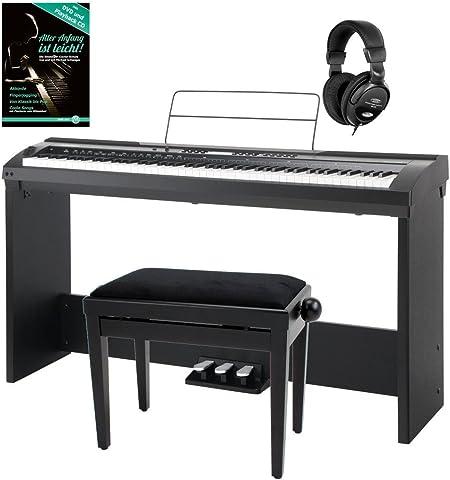 Set deluxe de stage piano Cantabile SP-150 BK negro (incl. atril, banqueta, auriculares)