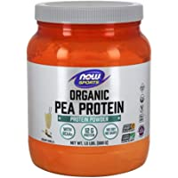 NOW Sports Nutrition, Certified Organic Pea Protein, 12 G With BCAAs, Creamy Vanilla Powder, 1.5-Pound