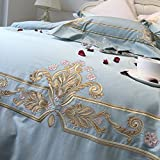 600 thread count 100% extra-long staple cotton four sets soft comfortable durable bedding collection bed sheet french style embroidery-A King