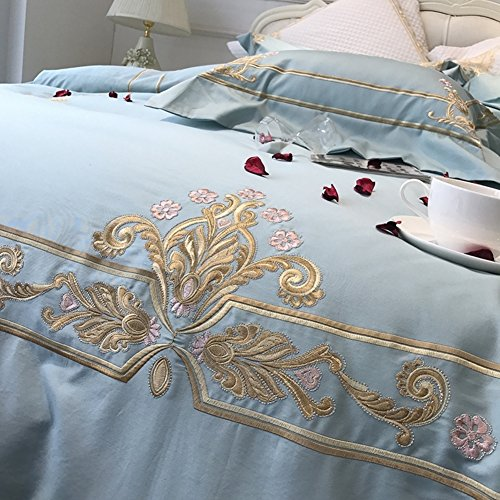 600 thread count 100% extra-long staple cotton four sets soft comfortable durable bedding collection bed sheet french style embroidery-A Queen1 by Ren&Yang
