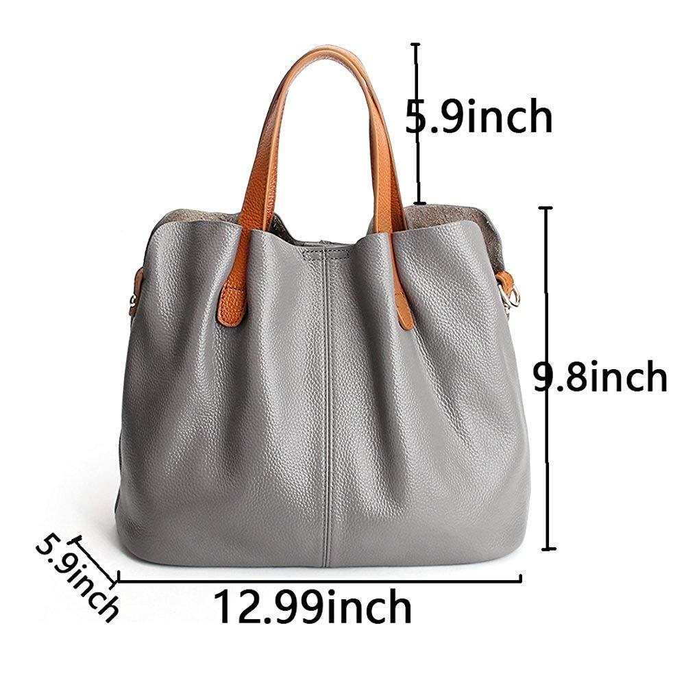 Molodo Womens Satchel Hobo Top Handle Tote Geuine Leather Handbag Shoulder Purse,Black,Large by Molodo (Image #5)
