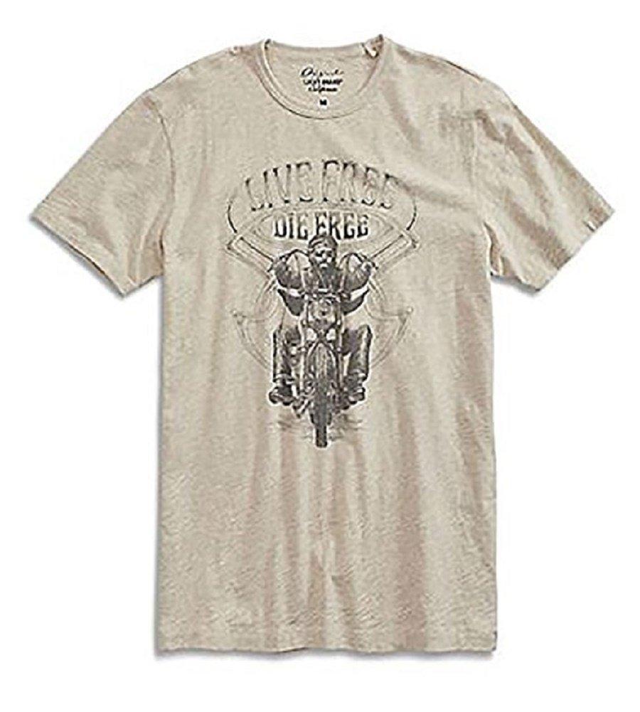 Lucky brand Live Free Die Free T-Shirt (Beige,Medium)