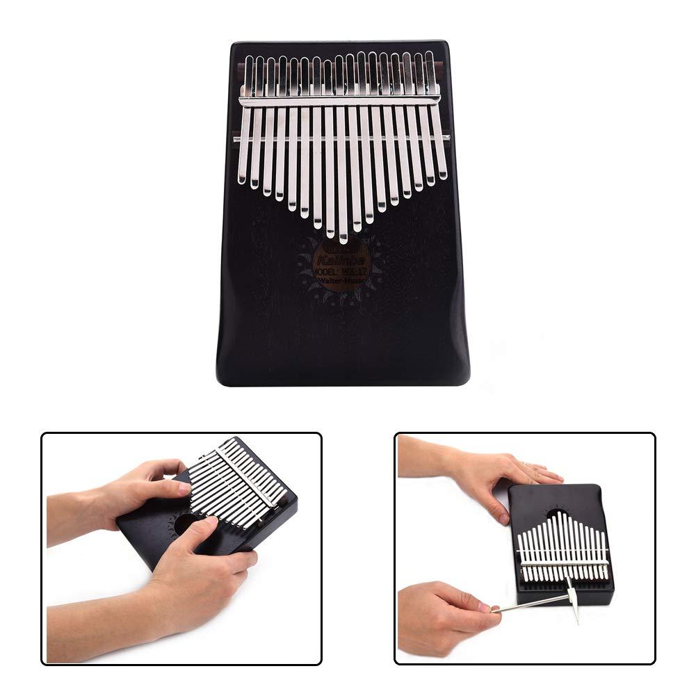 Per 17 Keys Kalimba Portable Thumb Piano Solid Finger Piano Mbira/Marimba Mahogany Body With Tune Hammer&Instruction Beginner Friendly-Black