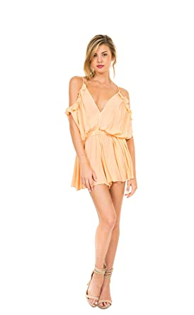 e70119d8272 Amazon.com  Luxxel Peach Crinkle Romper (Medium)  Clothing
