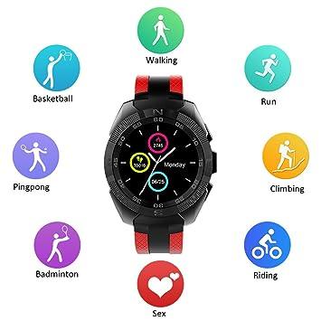 Smartwatch, Kivors L3 Reloj Inteligente Bluetooth 4,0 con Monitor de Frecuencia Cardíaca Fitness Tracker Sincronización con Smartphone Llamada SMS ...