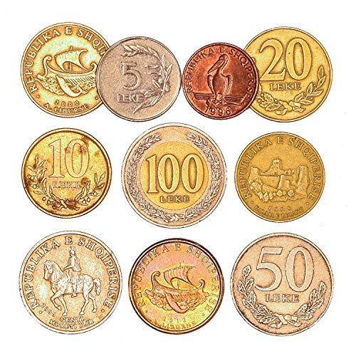 10 Albania Coins SHQIPËRISË 1 LEK - 100 LEKE. Old Coins Collection from Southeast Europe, Since 1992. Perfect Choice for Your Coin Bank, Coin Holders and Coin Album