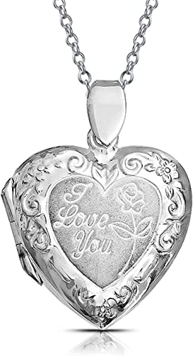 Sterling Silver Womens 1mm Box Chain I LOVE MY BABY Word Pendant Necklace