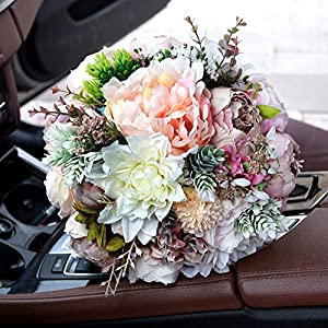 KUPARK Handmade Romantic Roses Dahlia Peony Hydrangea Artificial Flowers Blossom with Leaves Decor Bridal Bridesmaid Bouquet Home Wedding Decoration Gift for Birthday Valentine's Day 4