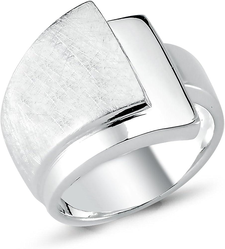 dise/ño de 3 niveles 2RSC en plata esterlina maciza cepillada brillante y ancha 925 Anillo Vinani