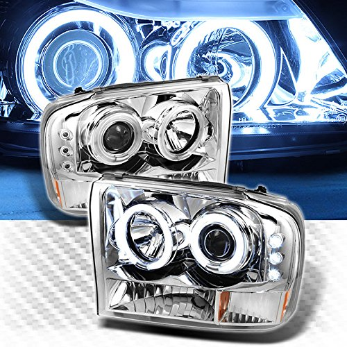 Xtune CCFL Halo LED 1999-2004 Ford F250 F350 Super Duty Projector Headlights Head Lights Pair Left+Right 2000 2001 2002 ()
