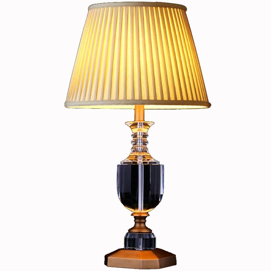 Hanlon E27-Schraubsockel, Tischlampe Kupfer Kristall Tischlampe American European Studie Wohnzimmer Lampe Kupfer Lampe ( größe : Kleine )