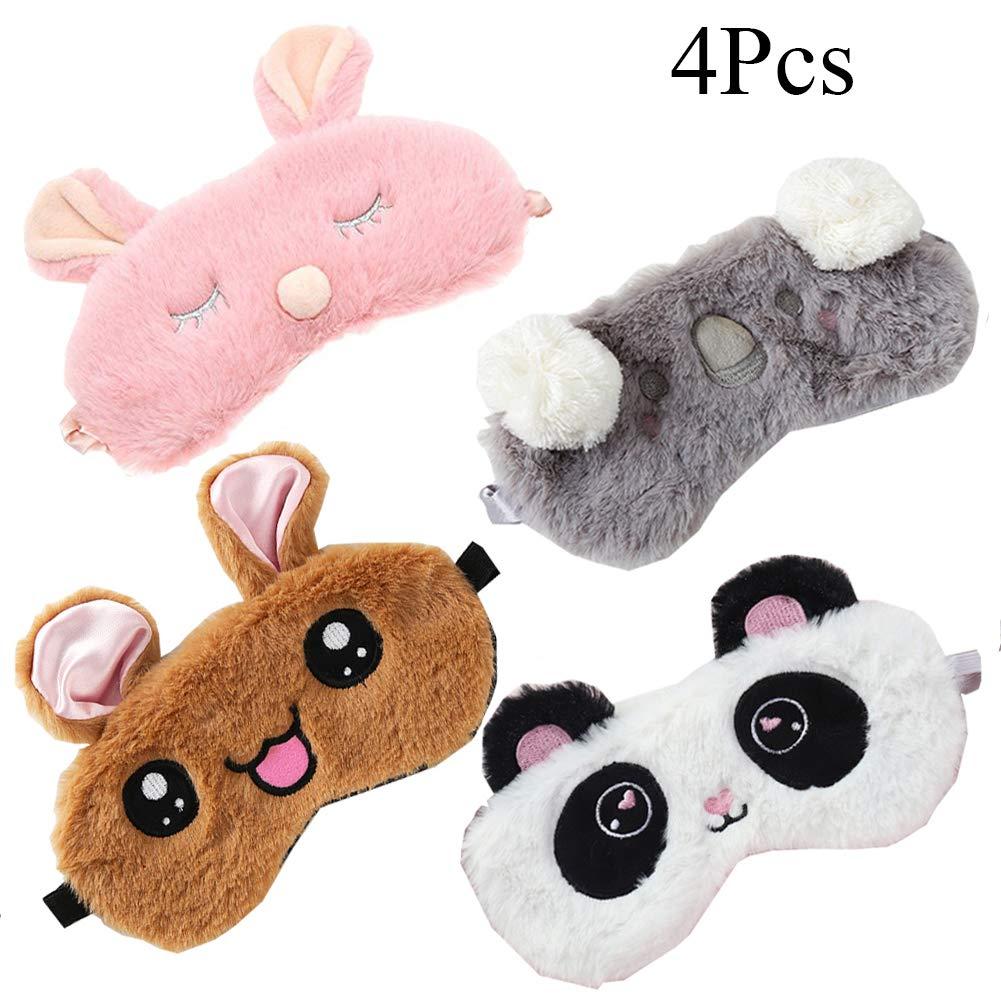 4 Pack Cute Animal Sleeping Sleep Mask Soft Plush Blindfold Cute Rabbit Panda Koala Eye Cover Eyeshade for Kids Teens Girls Women