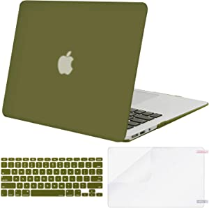 MOSISO Plastic Hard Shell Case & Keyboard Cover & Screen Protector Only Compatible with MacBook Air 13 inch (Models: A1369 & A1466, Older Version 2010-2017 Release), Capulet Olive