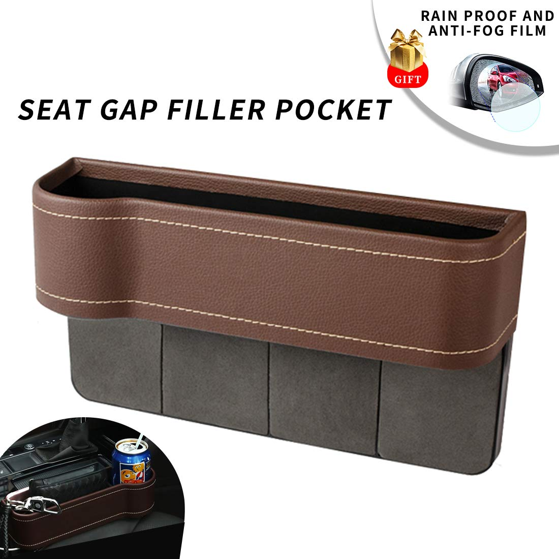 Center Console Side Pocket, PU Leather Car Seat Gap Filler Organizer Catcher with Cup Holder, Pack of 1 (Brown)