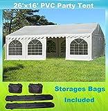 26'x16' PVC Party Tent - Heavy Duty Wedding Canopy Gazebo Carport - with Storage Bags - By DELTA Canopies