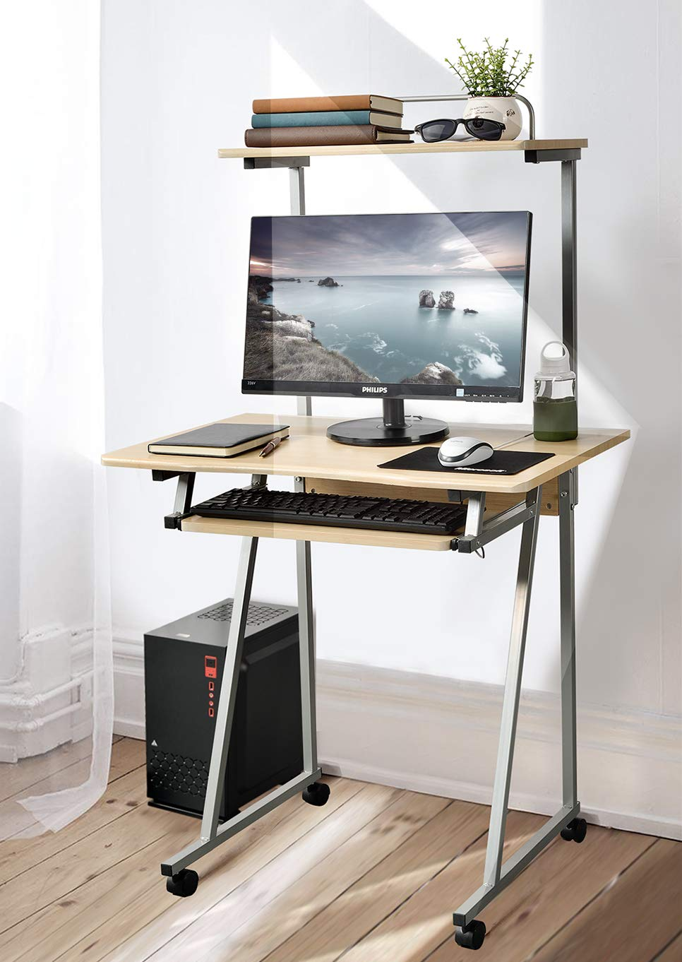 Aingoo Mobile Computer Desk Small Rolling Work Workstation with Printer Shelf and Keyboard Space Beige