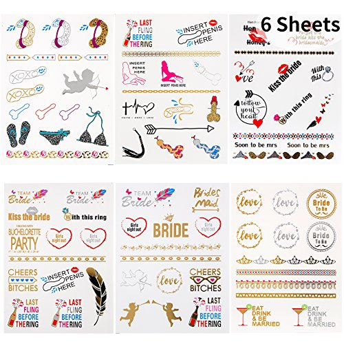 Bachelorette Tattoos - 6 Sheets Premium Metallic Flash Temporary Tattoos Over 80 Shimmer Designs for Funny Bridal Shower,Girls Night Out Decorations (6 (Over Shimmer)