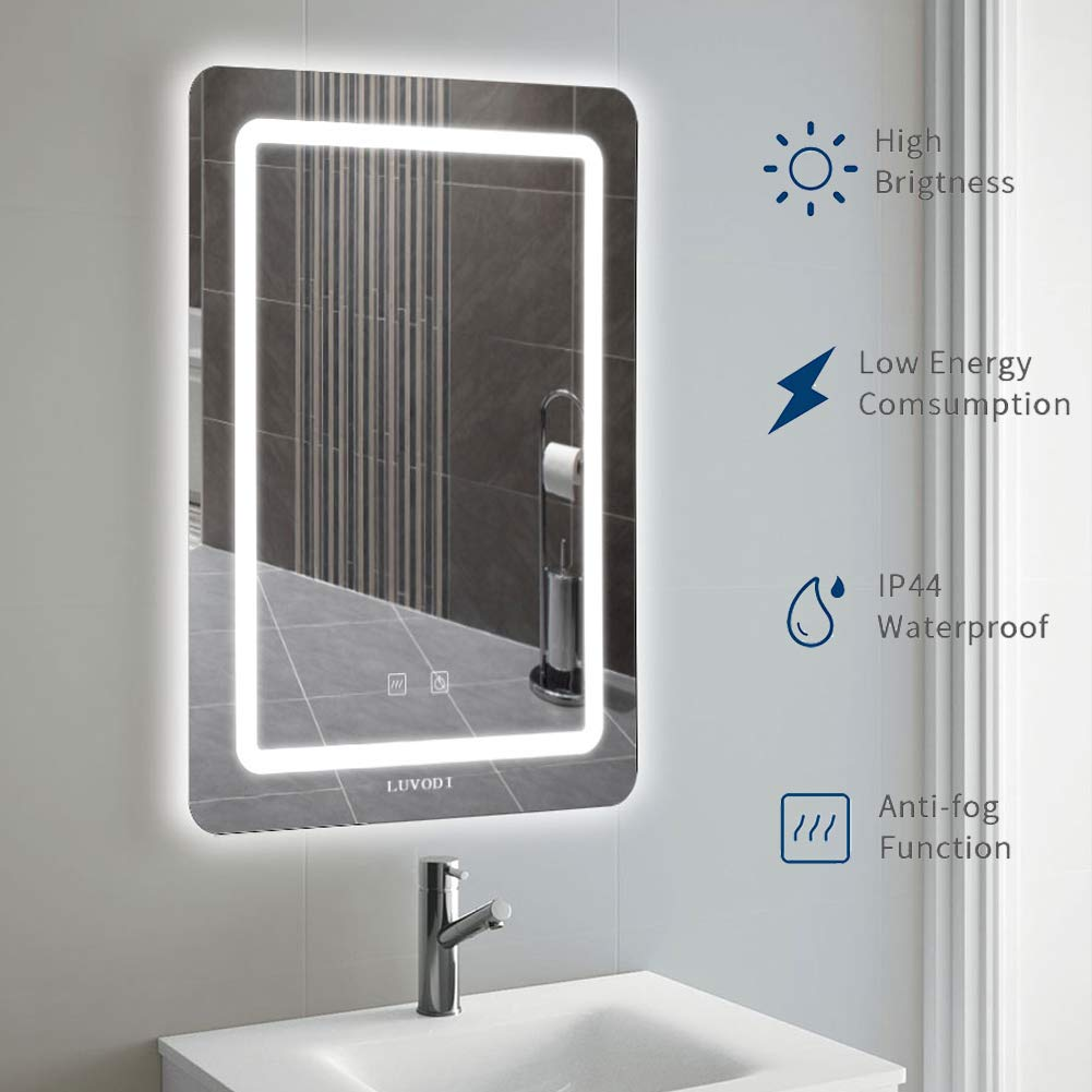 LED Bathroom Vanity Mirror, Wall Mounted Makeup Mirror with Lights, Defogger & Dimmer Function, Vertical Backlit Illuminated Mirror 27.6 X 19.7 Inch by LUVODI