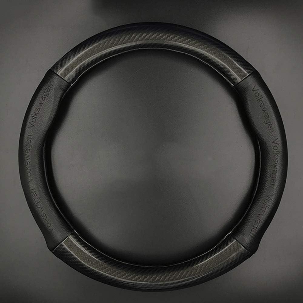 Color : Black-D shape letter Couvre Volant Le volant en cuir v/éritable poign/ée Cover direction Volant gain/é universel for 15 pouces voiture anti-d/érapant Volant Protecteur