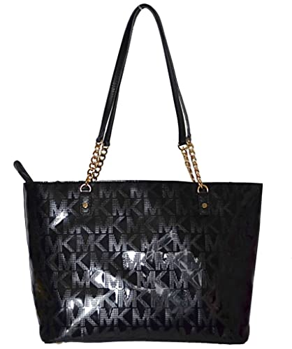 Michael Kors MK Mirror Metallic Jet Set EW Chain Tote Bag Handbag Purse -  Black