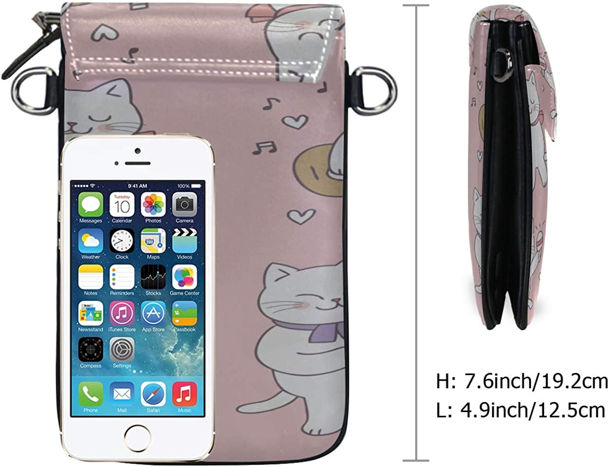 Small Crossbody Cartoon Cute Valentines Day Cat Music Cell Phone Purse For Women Mini Messenger Shoulder Bag Wallet With Credit Card Slots