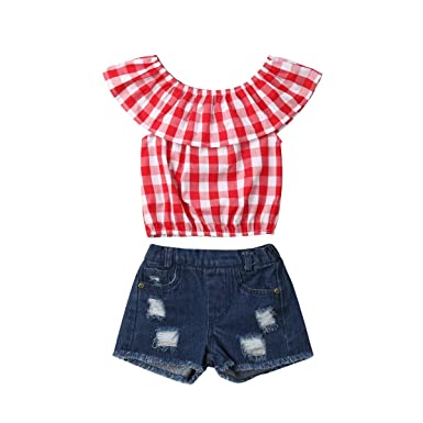 593787d24 Amazon.com  Baby Girl 6 Style Floral Check Plaid Croptops Ruffle ...