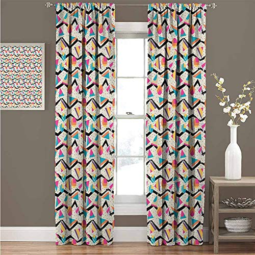 GUUVOR Vintage Blackout Curtain Vintage 80s Style Geometrical Pattern with Triangles and Circles in Memphis Fashion 2 Panel Sets Curtain 42