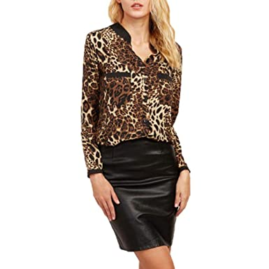 202300ec16a836 Beikoard Langarmshirt Damen Leopard Print Lässige Pullover Tops Lose Bluse  Shirt (Braun, S)