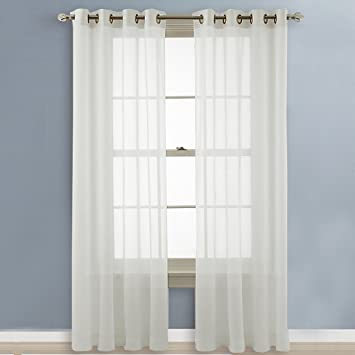 Amazon.com: NICETOWN Sheer Curtains 96 Long - Grommet Top Voile ...