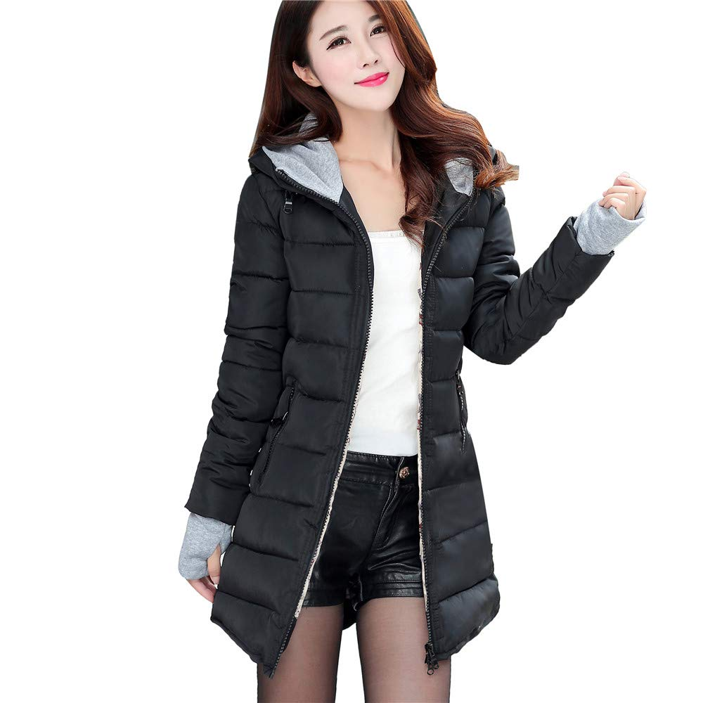 8a65b2a28d0 Amazon.com  Womens Coat with Thumbhole Sleeve Winter Hood Parka Overcoat  Long Jacket Outwear M-L4  Clothing